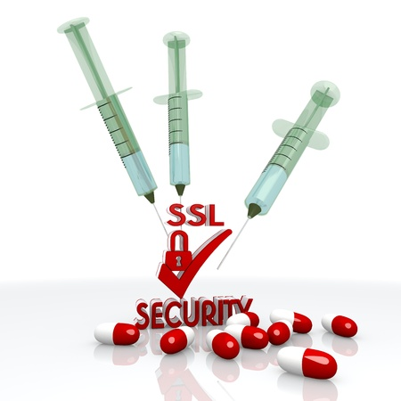 ciphering: Dark red  addicted immunisation 3d graphic with isolated SSL pictogram with injection
