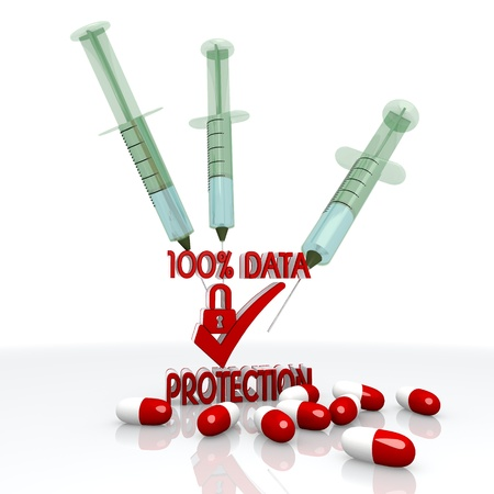 ciphering: Dark red  pharmaceutical immunisation 3d graphic with isolated data protection symbol with injection
