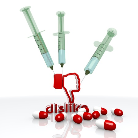 overdose: Dark red  medical pill 3d graphic with addicted dislike icon with injection Stock Photo