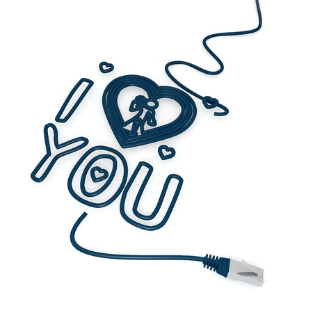 cat5: Smoky black  isolated network 3d graphic with tiny I love you icon with cat5 network cable Stock Photo