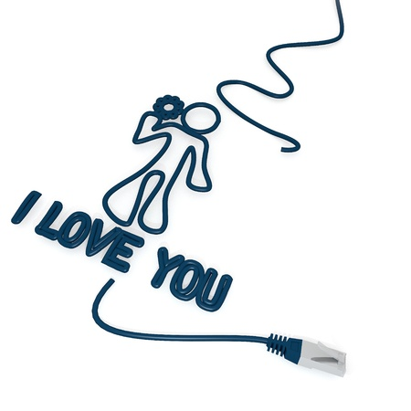 cat5: Smoky black  connected love 3d graphic with tiny I love you icon with cat5 network cable Stock Photo