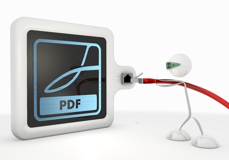 Pastel gray  isolated connection 3d graphic with exclusive pdf symbol with futuristic 3d character photo
