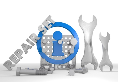 information medium: Medium blue  mechanical set 3d graphic with isolated information sign repair set Stock Photo