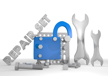 insecure: Medium blue  insecure tool 3d graphic with isolated unsafe pictogram repair set Stock Photo
