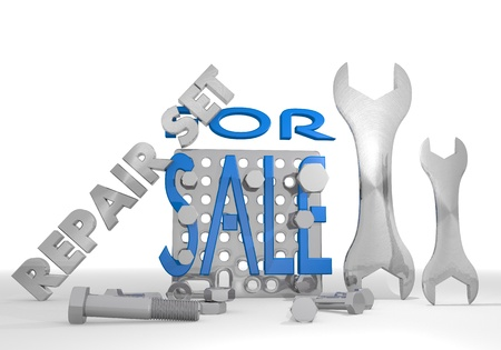 Medium blue  mechanical business 3d graphic with isolated sale pictogram repair set photo