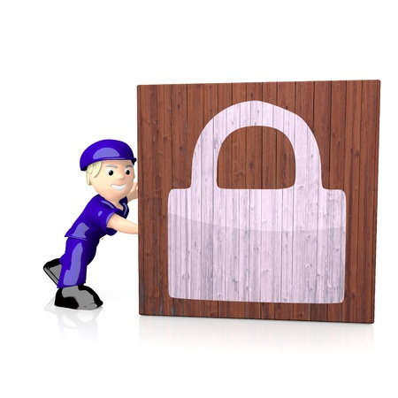 White  3d character 3d graphic with 3d secure symbol  on delivered box photo