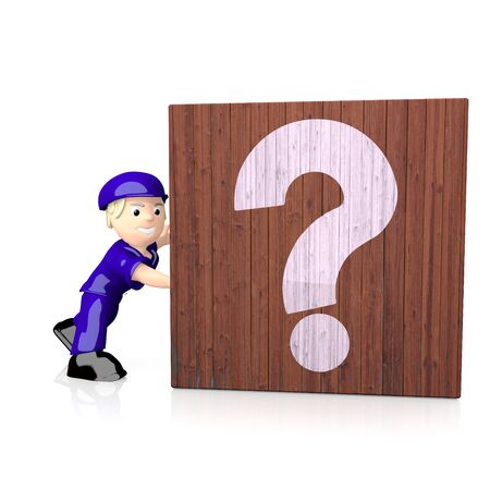 delivered: White  isolated character 3d graphic with 3d question icon  on delivered box Stock Photo