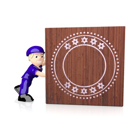delivered: White  isolated postman 3d graphic with round label symbol  on delivered box Stock Photo