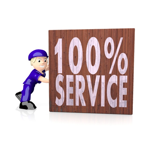 delivered: White  3d postman 3d graphic with 3d service symbol  on delivered box Stock Photo