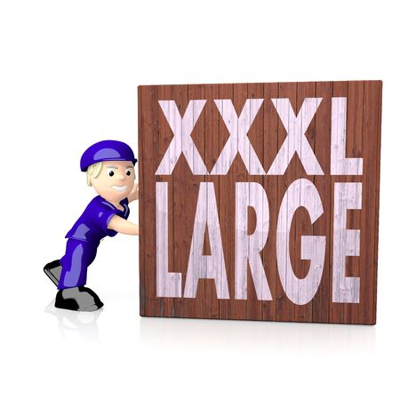 xxxl: White  x-large heavy 3d graphic with x-large XL icon  on delivered box