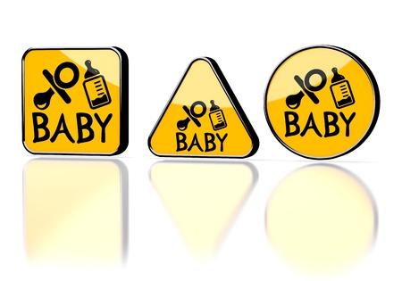 edred�n: Naranja oscuro advertencia edred�n gr�fico 3d con el s�mbolo de advertencia del beb� en tres se�ales de advertencia