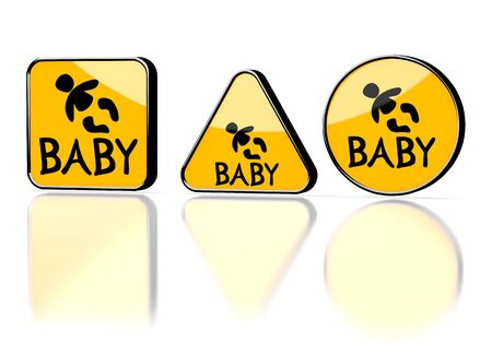 Dark orange  warning icon 3d graphic with warning baby symbol on three warning signs photo