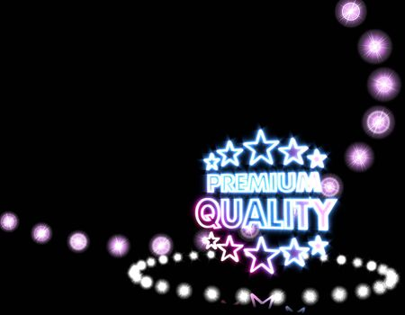 premium quality: Cool black  shiny disco 3d graphic with neon premium quality icon  on disco lights background Stock Photo