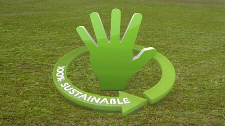 Green environmental hold 3d graphic with environmental hand icon  on grass photo