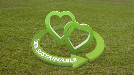 Green playful romance 3d graphic with sustainable two hearts icon  on grass photo