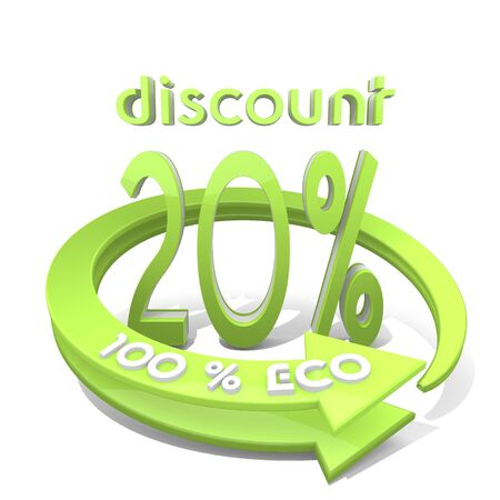 rebate: White  sustainable rebate 3d graphic with environmental discount sign  a 100 percent eco