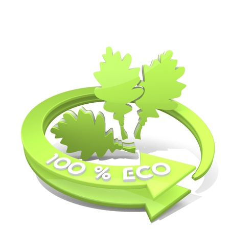 autumnn: White  sustainable autumnn 3d graphic with ecological oak leaves sign  a 100 percent eco