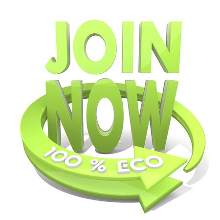White  sustainable ecology 3d graphic with bold join now symbol  a 100 percent eco photo