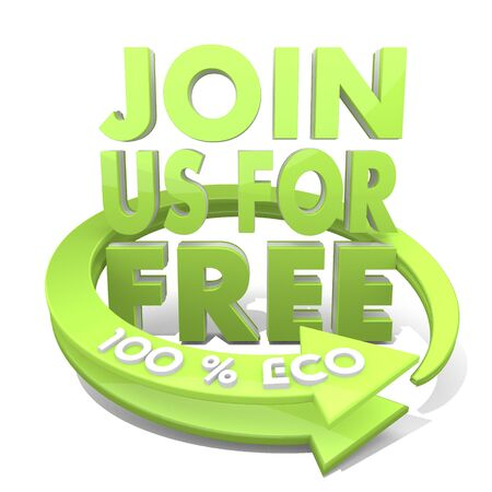 White  free ecology 3d graphic with environmental join us sign  a 100 percent eco photo