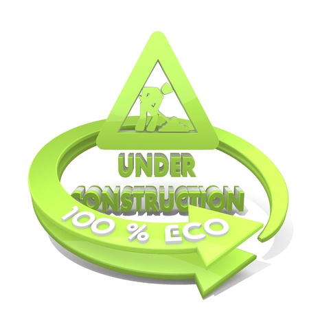 White  sustainable in developement 3d graphic with construction site under construction sign  a 100 percent eco photo