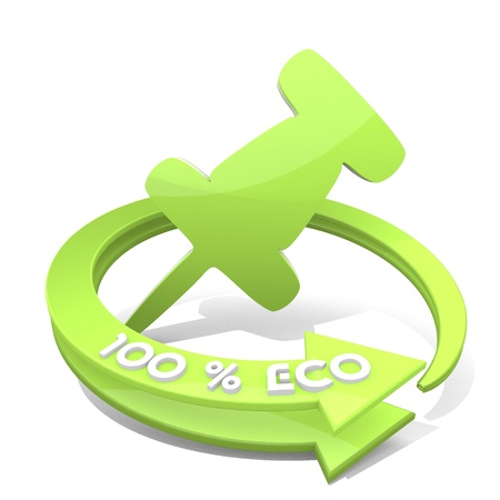 White  eco remember 3d graphic with eco pin icon  a 100 percent eco Stock Photo