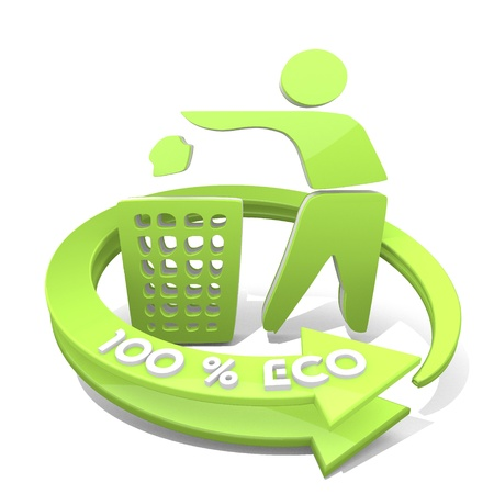 White  eco ecology 3d graphic with erased delete sign  a 100 percent eco Stock Photo