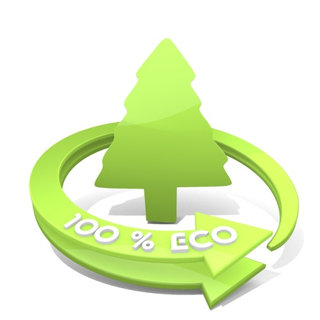 autumnn: White  cute design 3d graphic with environmental abstract conifer sign  a 100 percent eco