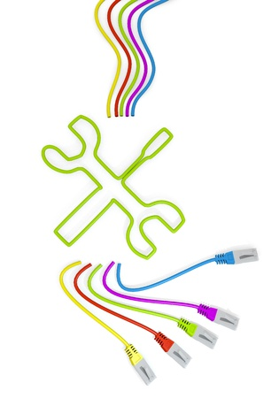 3d graphic with mechanic symbol with colourful network cable photo