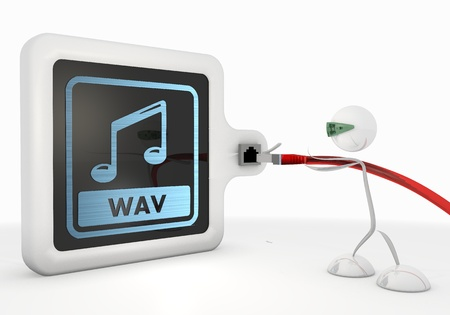 wav: 3d graphic with exclusive wav symbol with futuristic 3d character