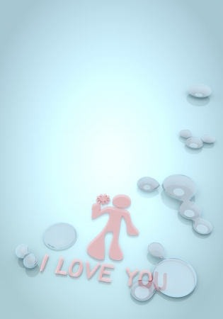 pale cream: 3d graphic with bright I love you on blue background with water drops