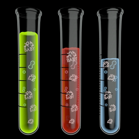 test tube babies: 3d graphic with scientific baby symbol particles in test glass