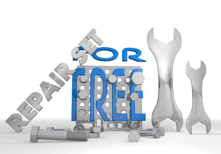3d graphic with for free sign repair set photo