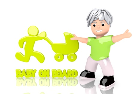 3d graphic with funny baby on board symbol  with cute 3d character Stock Photo