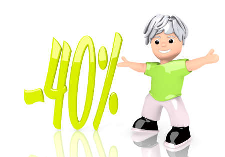 3d graphic with -40% discount sign  with cute 3d character photo
