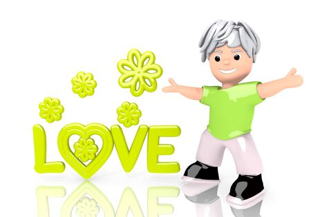 3d graphic with coltish love symbol with cute 3d character Stock Photo