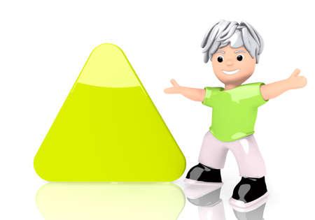 3d graphic with triangle sign  with cute 3d character photo