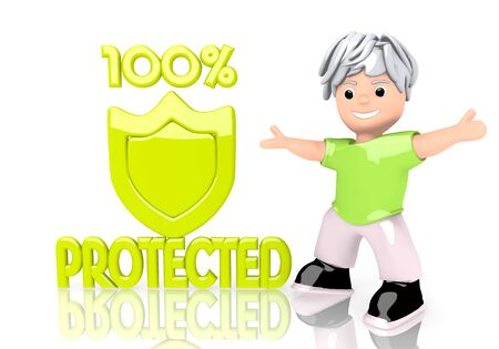 shielded: 3d graphic with 100% shield protected icon with cute 3d character