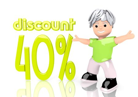 deduction: 3d graphic with 40% discount symbol  with cute 3d character