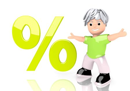 3d graphic with percent sign  with cute 3d character photo