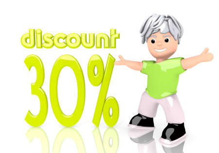 3d graphic with 30% discount icon  with cute 3d character photo