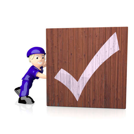 well read: 3d graphic with check icon  on delivered box Stock Photo