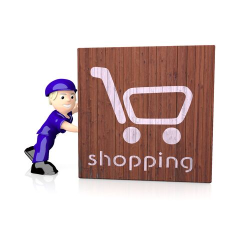 delivered: 3d graphic with shopping symbol  on delivered box Stock Photo