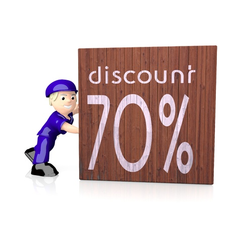 delivered: 3d graphic with isolated 70% discount icon  on delivered box Stock Photo