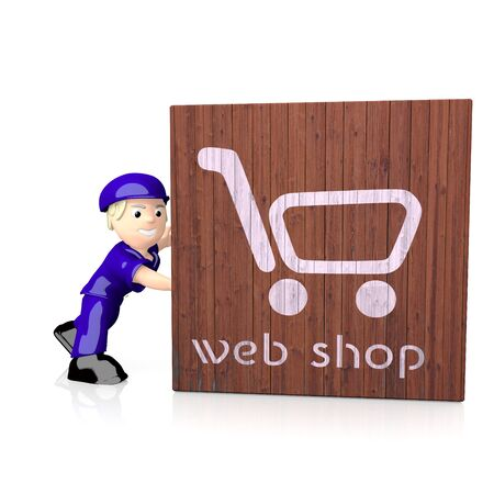 delivered: 3d web shop symbol  on delivered box