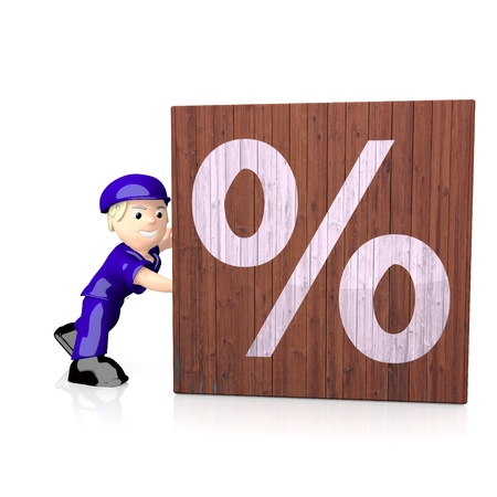 deduction: 3d graphic with percent icon  on delivered box