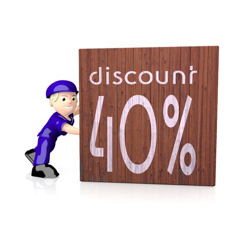 deduction: 3d graphic with -40% discount icon  on delivered box