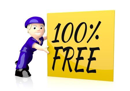 3d graphic with 100 percent free icon  on yellow post box photo