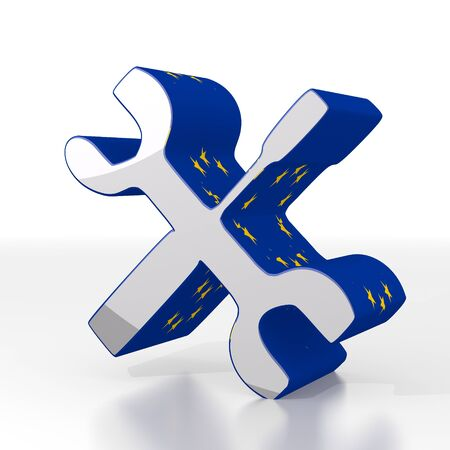 euro screw: 3d graphic with constructing mechanic symbol  with eu flag pattern