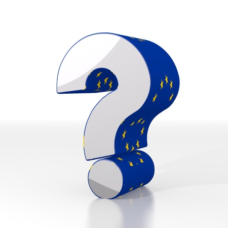 unresolved: 3d graphic with unresolved question sign  with eu flag pattern