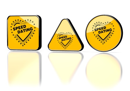 3d graphic with caution speed dating symbol on three warning signs photo